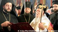 KIEV, UKRAINE - AUGUST 21, 2021: Ecumenical Patriarch Bartholomew I (2nd R) of Constantinople attends a divine liturgy at St Michael Golden-Domed Cathedral. The patriarch of the Eastern Orthodox Church has arrived in Kiev at the invitation of Ukraine's President Zelensky. Anna Marchenko/TASS