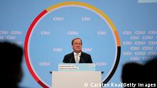 BERLIN, GERMANY - AUGUST 21: German Christian Democrats (CDU) chancellor candidate Armin Laschet speaks to supporters at a virtual election campaign rally at Tempodrom on August 21, 2021 in Berlin, Germany. The rally launches the final, heated phase of campaigning by the CDU and CSU before federal parliamentary elections scheduled for September 26. The two parties, in Germany commonly referred to as the Union, govern together at the federal level. While the CDU/CSU currently lead in polls, the German Social Democrats (SPD) are close behind. (Photo by Carsten Koall/Getty Images)