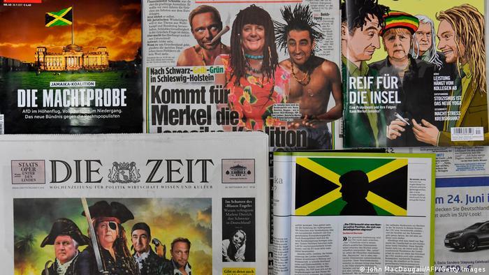 На парламентарните избори през 2017 г. Ангел Меркел и нейният ХДС понесоха тежки загуби. Заради бежанската си политика много гласове се преляха в дяснопопулистката Алтернатива за Германия. Тогава се очертаваше нова управляваща коалиция ,тъй наречената Ямайка - сююз между ХДС/ХСС, либералите и Зелените. И съответно германската преса реагира с подходящи за случая колажи.
