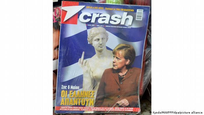 Numeroase publicaţii din Grecia au publicat - la apogeul crizei economice din această ţară - articole, colaje şi imagini nu tocmai măgulitoare la adresa Germaniei şi a decidenţilor politici ai acesteia