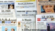 Das Foto vom 19.09.2005 zeigt Schlagzeilen in der internationalen Presse am Tag nach der Bundestagswahl 2005 in Deutschland. Der äußerst knappe Wahlausgang hat weder der Regierungskoalition aus SPD und Grünen noch der Union aus CDU und CSU ein klares Mandat zur Regierungsbildung gebracht. Sowohl Bundeskanzler Schröder als auch Kanzlerkandidatin Merkel beanspruchen nun die Kanzlerschaft für sich. Foto: Andreas Gebert dpa +++ dpa-Bildfunk +++