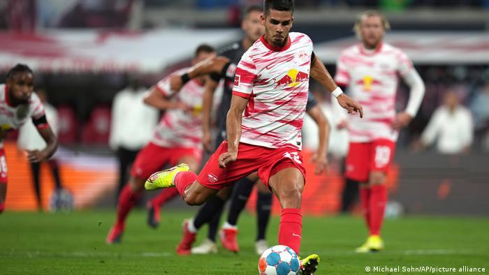 Andre Silva fires a penalty against Stuttgart