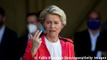 MADRID, SPAIN - AUGUST 21: President of the European Commission Ursula Von der Leyen speaks during a press conference after a tour around the temporary reception facilities for Afghan refugees in Torrejon Air Base on August 21, 2021 in Madrid, Spain. Torrejon Air Base is a hub for European citizens and Afghan helpers evacuated from Afghanistan to protect them from Taliban reprisals. (Photo by Pablo Blazquez Dominguez/Getty Images)
