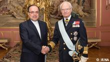 Iranischer Botschafter in Schweden Beschreibung: Iranischer Botschafter Ahmad Masoumifar beim Carl XVI. Gustaf, dem schwedischen König. Lizenz: IRNA (frei) https://img9.irna.ir/d/r2/2020/02/20/4/156982251.jpg
