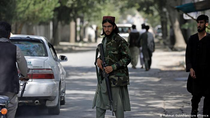 A Taliban fighter at a checkpoint in Kabul