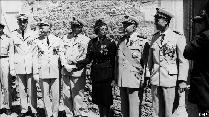 Josephine Baker poses after receiving the Legion of Honor and the Croix de Guerre in 1961