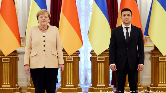 Kanclerz Angela Merkel i prezydent Ukrainy Wołodymyr Zełenski w Kijowie