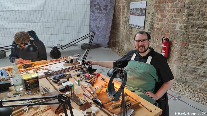 Niall Flemming at a workbench