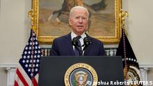 22.08.2021 U.S. President Joe Biden speaks about Hurricane Henri and the evacuation of Afghanistan in the Roosevelt Room of the White House in Washington, D.C., U.S. August 22, 2021. REUTERS/Joshua Roberts