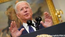22.08.2021 U.S. President Joe Biden gestures as he speaks about Hurricane Henri and the evacuation of Afghanistan in the Roosevelt Room of the White House in Washington, D.C., U.S. August 22, 2021. REUTERS/Joshua Roberts