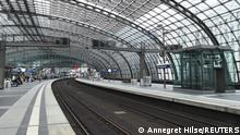 General view shows tracks and platforms at Berlin's main railway station during a nationwide rail workers' strike, in Berlin, Germany, August 23, 2021. REUTERS/Annegret Hilse