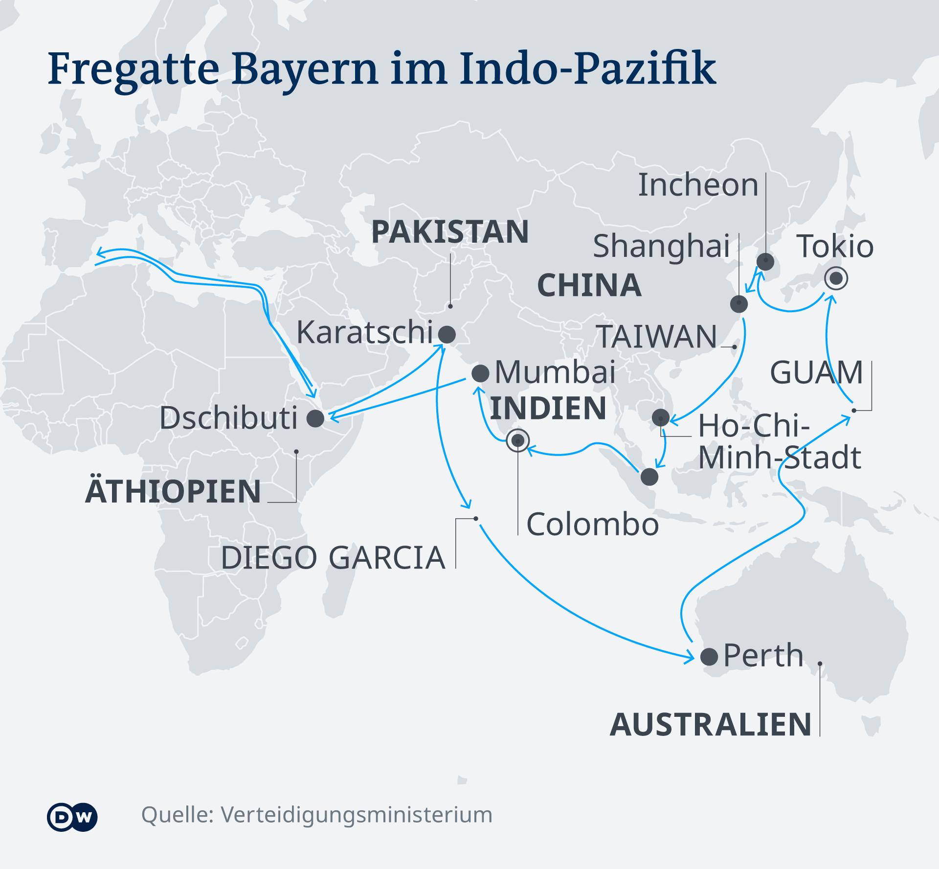 Infografik Karte Fregatte Bayern DE