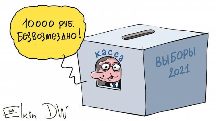Путин выглядывает из коробки на которой написано выборы 2021