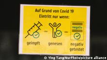 sign of 3G required: tested, or vaccinated, or recovered is seen in a restaurant entrance in city center of Bonn, Germany on August 21, 2021 (Photo by Ying Tang/NurPhoto)