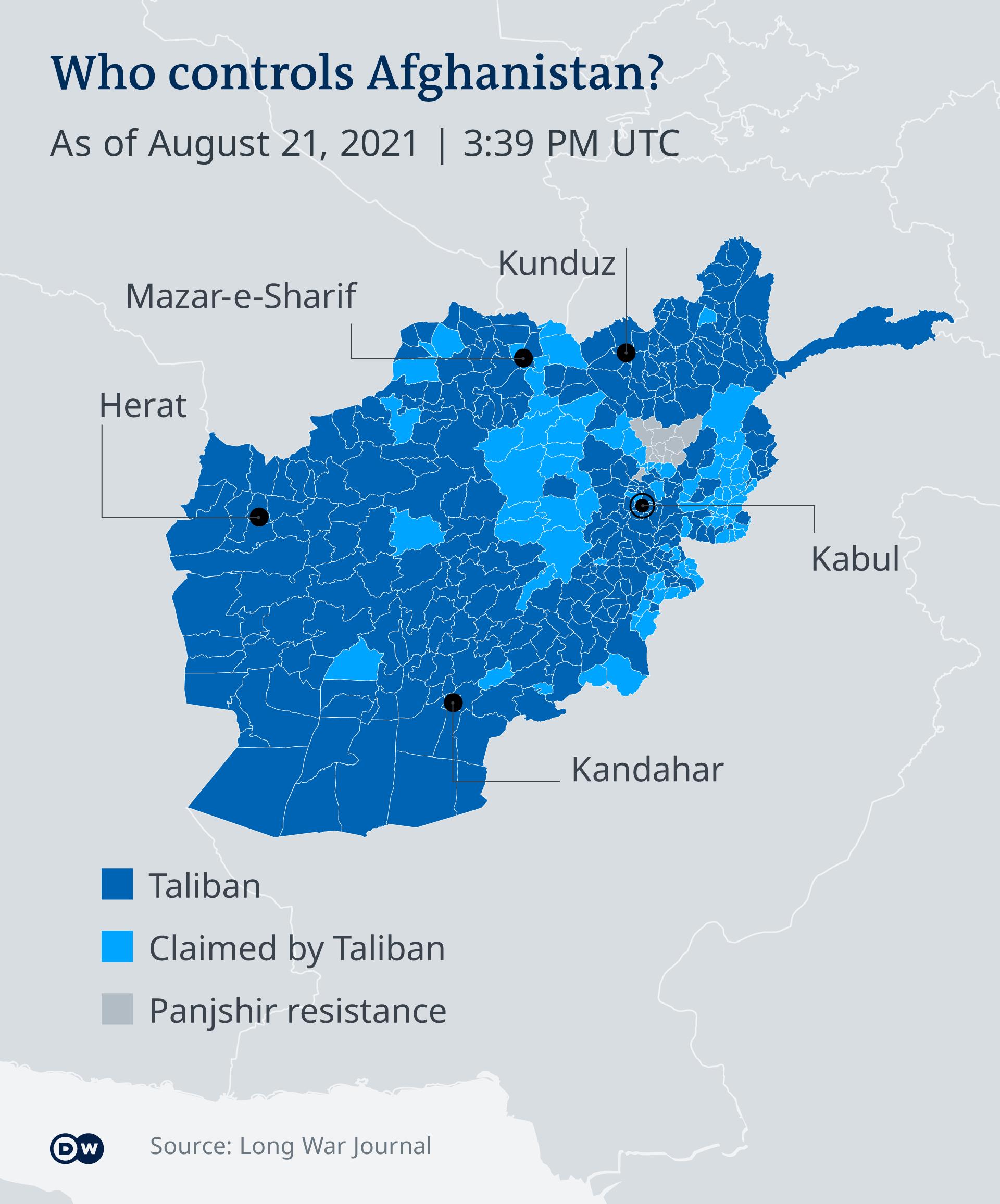 Qui contrôle l'Afghanistan? (Une infographie DW du 21.8.21)