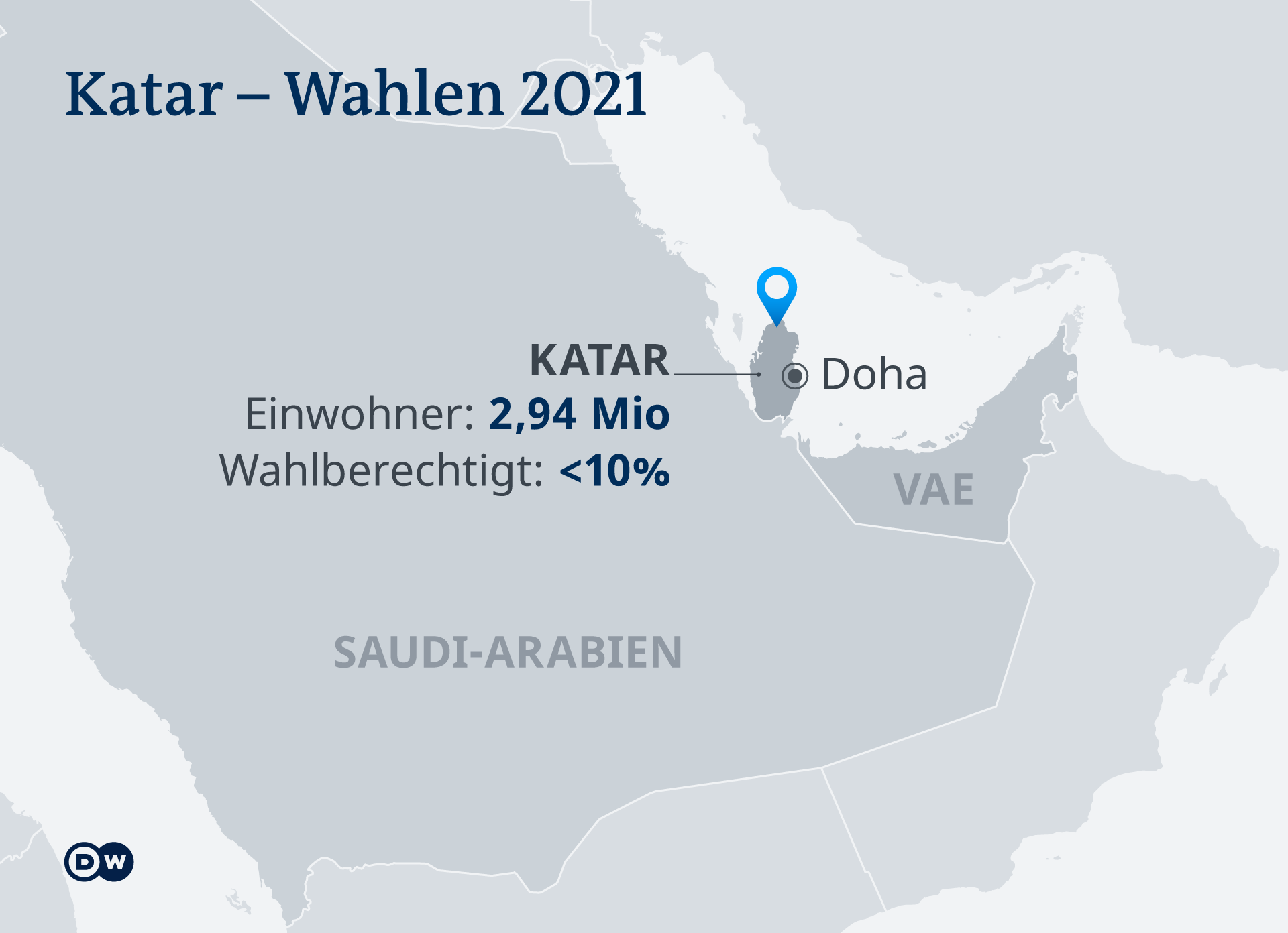 Infografik Karte Qatar - Shura Council elections 2021 DE