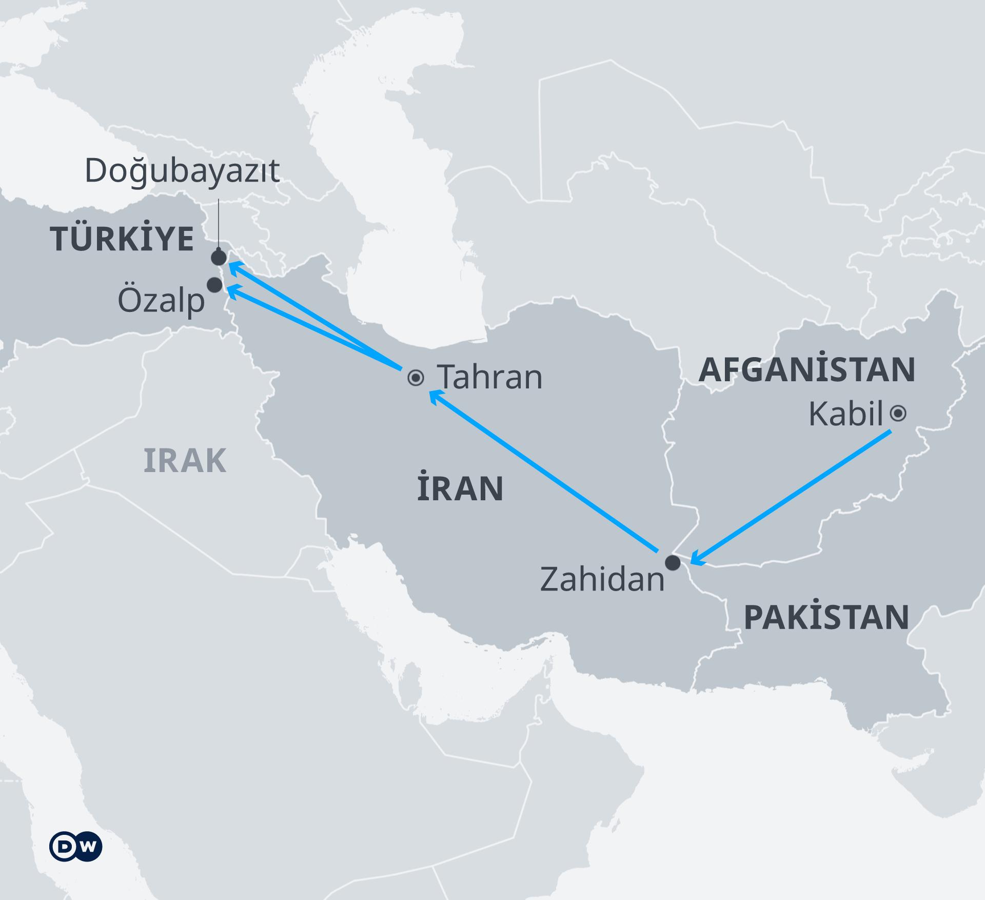Karte Flüchtlingsstrom Afghanistan Türkei TR