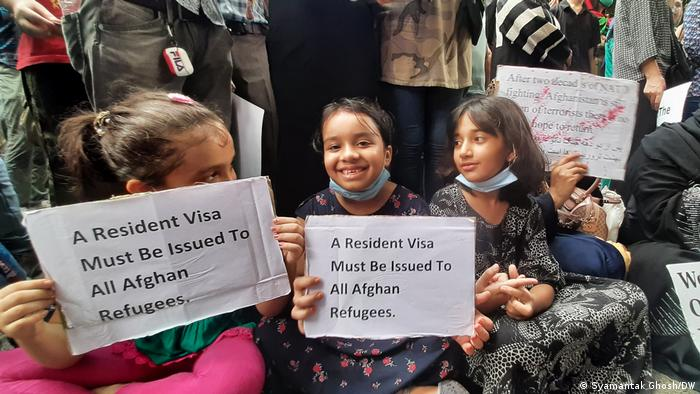 Indien I Afghanische Flüchtlinge protestieren in der Nähe des UNHCR in Neu Delhi