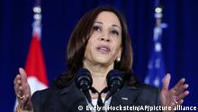 U.S. Vice President Kamala Harris delivers a speech at Gardens by the Bay in Singapore before departing for Vietnam on the second leg of her Southeast Asia trip, Tuesday, Aug. 24, 2021. (Evelyn Hockstein/Pool Photo via AP)