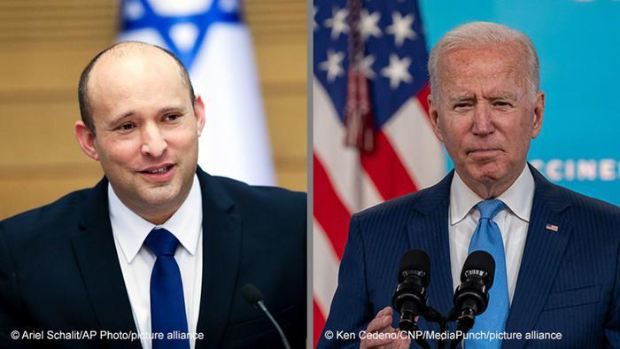 PM Israel Naftali Bennett (kiri) dan Presiden AS Joe Biden (kanan)