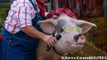 A farmer gives a pig a microphone to sing on the stage of The Pork Chop Revue comedy show at the 117th Kentucky State Fair in Louisville, Kentucky, U.S. August 21, 2021. REUTERS/Amira Karaoud TPX IMAGES OF THE DAY
