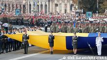 Ukrainian service members take part in the Independence Day military parade in Kyiv, Ukraine August 24, 2021. REUTERS/Gleb Garanich