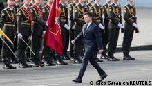 Ukraine's President Volodymyr Zelenskiy takes part in the Independence Day military parade in Kyiv, Ukraine August 24, 2021. REUTERS/Gleb Garanich