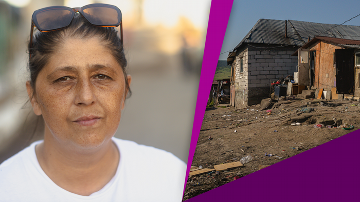 A collage photo of a woman in a white T-shirt wearing sunglasses on her head and a house with trash on the ground in front of it