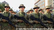 KIEV, UKRAINE - AUGUST 24, 2021: Servicemen take part in a military parade marking the 30th anniversary of Ukraine's Independence in Independence Square. Anna Marchenko/TASS