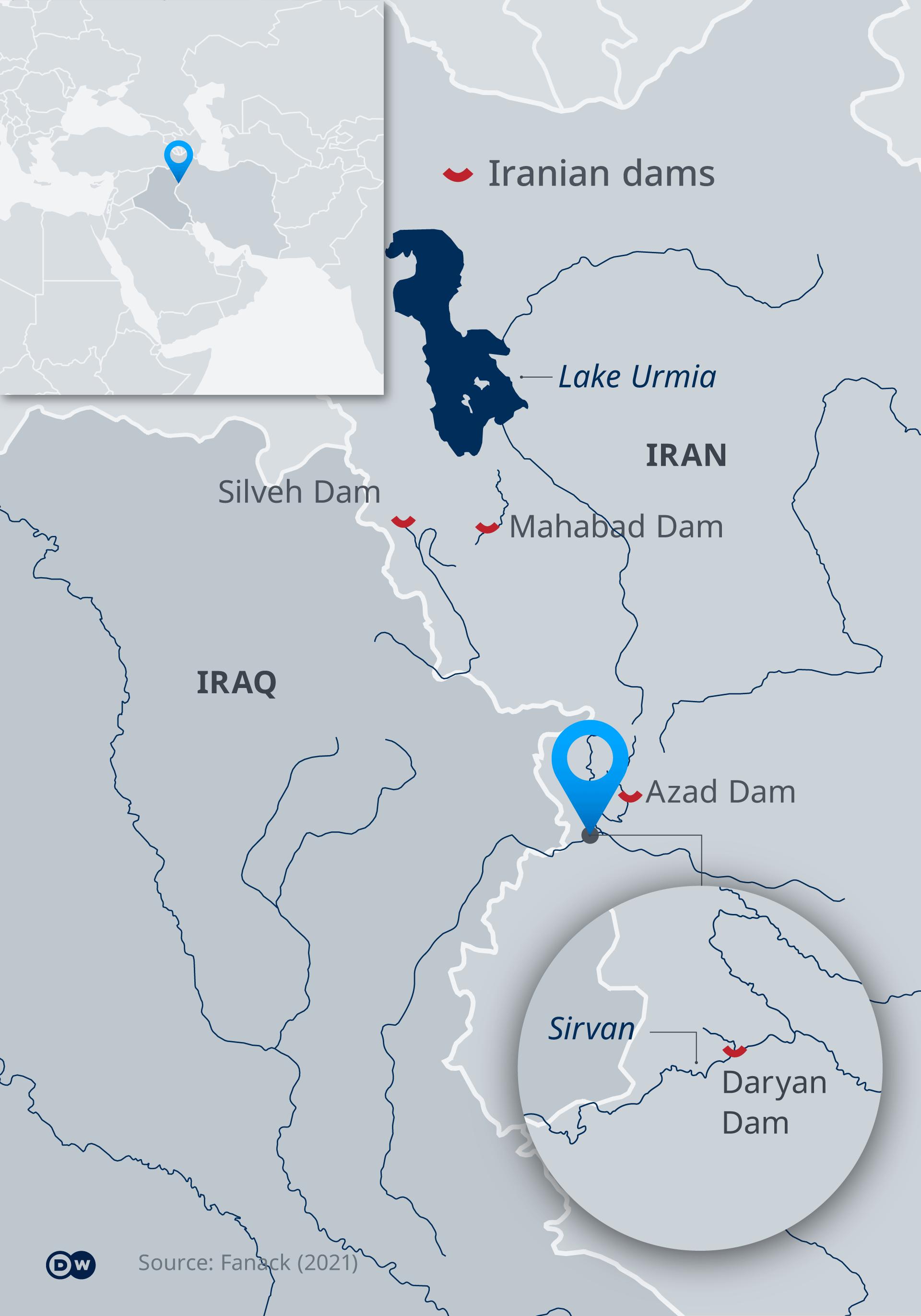 Infografik - Staudämme im Iran - EN