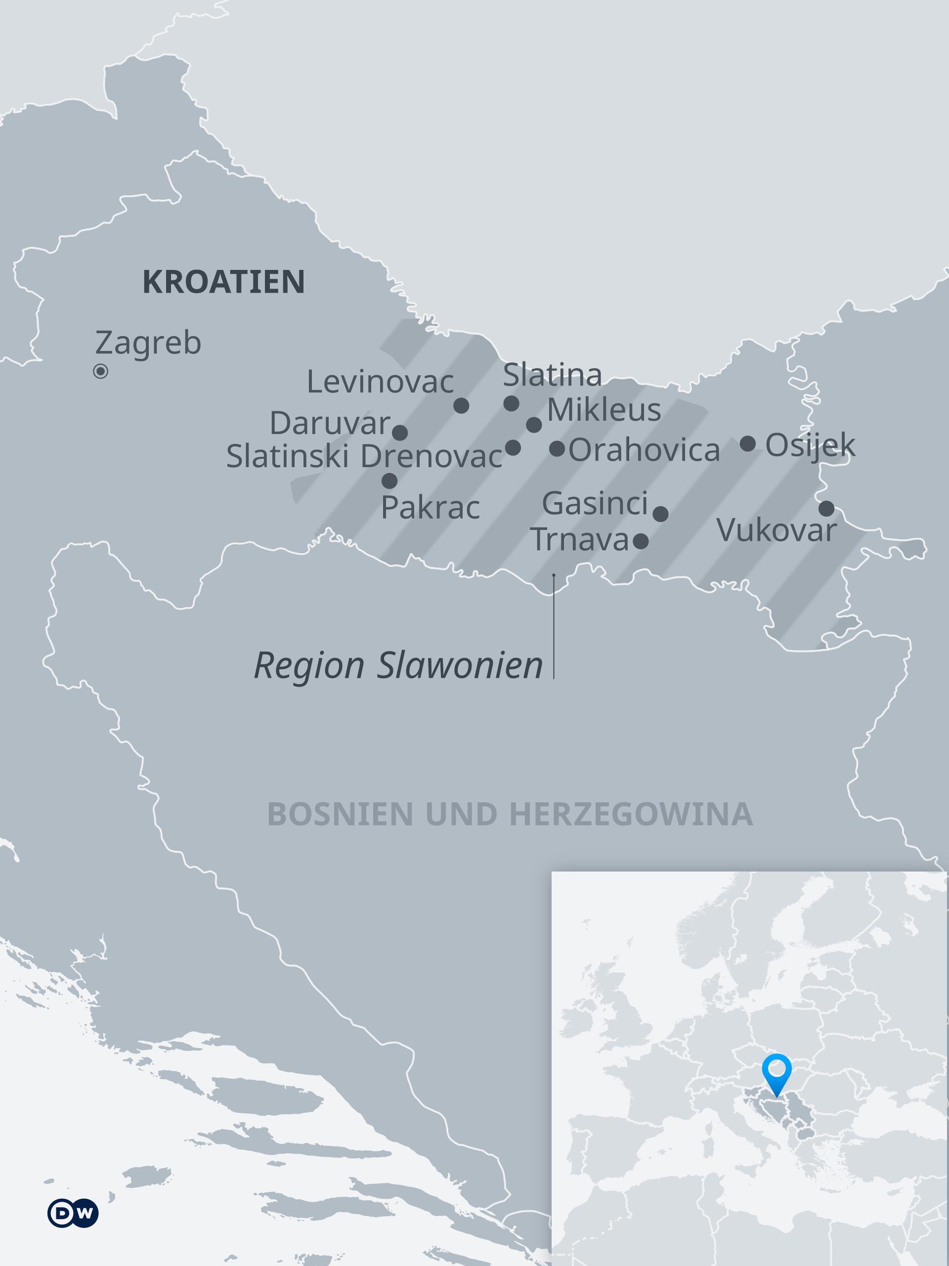 Karte Slawonien Kroatien DE