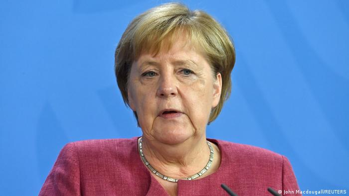 German Chancellor Angela Merkel delivers a press conference after a virtual G7 summit on the crisis triggered by Taliban's return to power in Afghanistan
