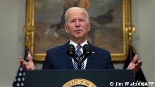 US President Joe Biden speaks about the ongoing evacuation of Afghanistan, on August 24, 2021, from the Roosevelt Room of the White House in Washington, DC. (Photo by JIM WATSON / AFP)