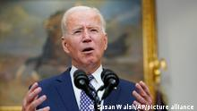 President Joe Biden speaks about the situation in Afghanistan from the Roosevelt Room of the White House in Washington, Tuesday, Aug. 24, 2021. (AP Photo/Susan Walsh)