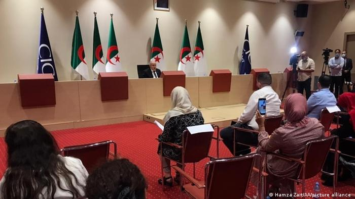 Algerian Foreign Minister Ramtane Lamamra makes a speech as he holds a press conference in Algiers, Algeria