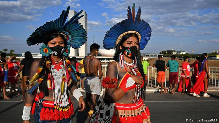 Indigenous women from the Krenak tribe are seen during a protest outside the Supreme Court Building in Brasilia, on August 24, 2021.