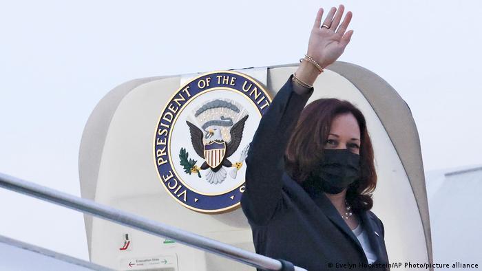 US Vice President Kamala Harris boarding a plane in Singapore taking her to Hanoi