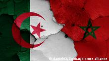 flags of Algeria and Morocco painted on cracked wall
