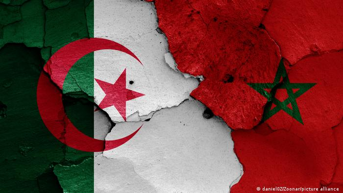 Algerian and Moroccan flags collaged into a picture showing regional tensions