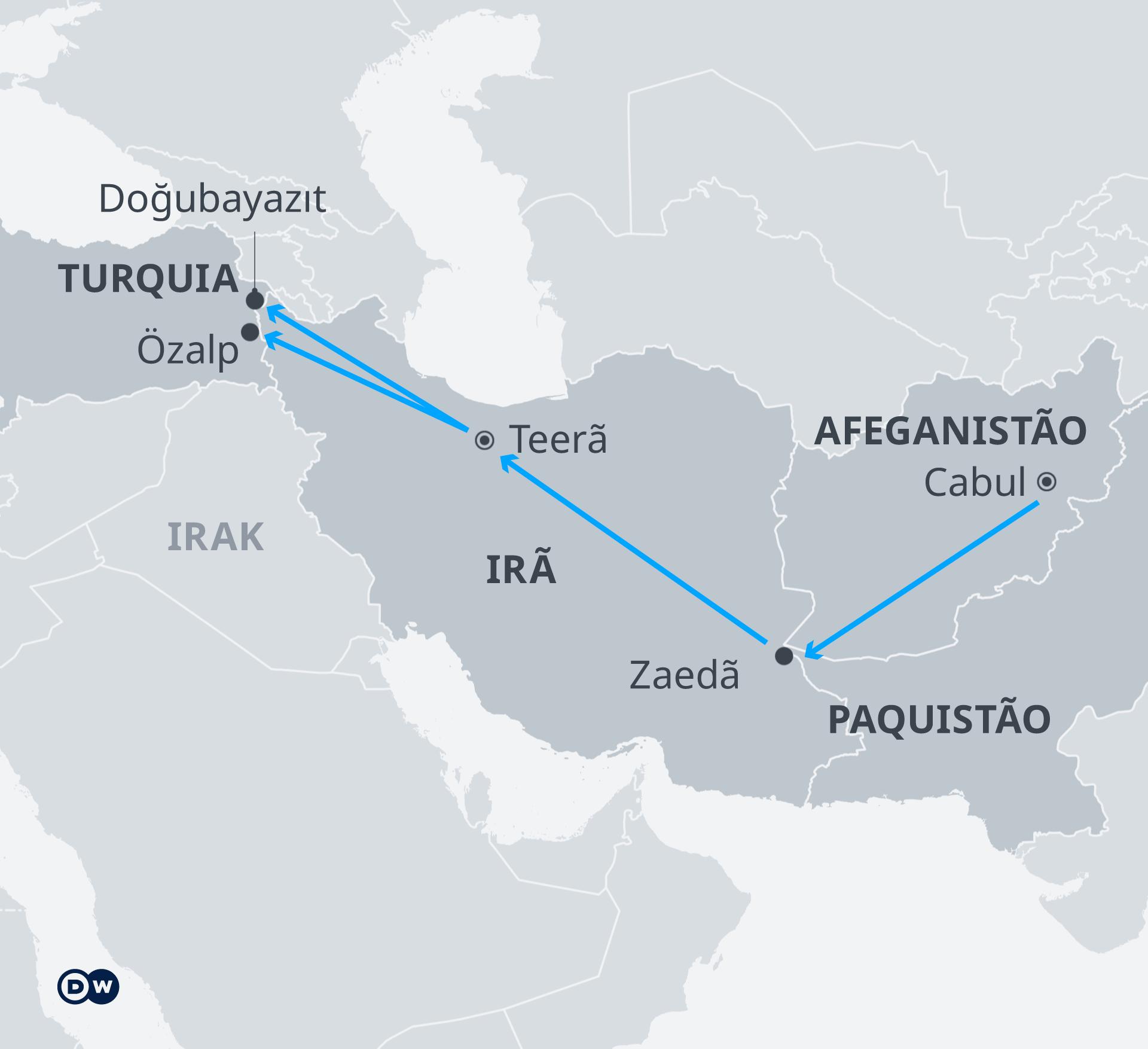 Χάρτης, Αφγανιστάν-Τουρκία