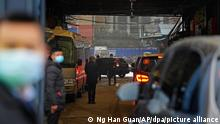 """FILE - In this file photo dated Sunday, Jan. 31, 2021, a convoy of vehicles carrying the World Health Organization team enters the interior of the Huanan Seafood Market on the third day of field visit in Wuhan in central China. In a commentary published Wednesday Aug. 25, 2021, the international scientists dispatched to China by the World Health Organization to look for the origins of the coronavirus say the search has """"stalled"""" and warn the window is closing to conduct critical studies that could provide clues on how the virus first infected people.(AP Photo/Ng Han Guan, FILE)"""