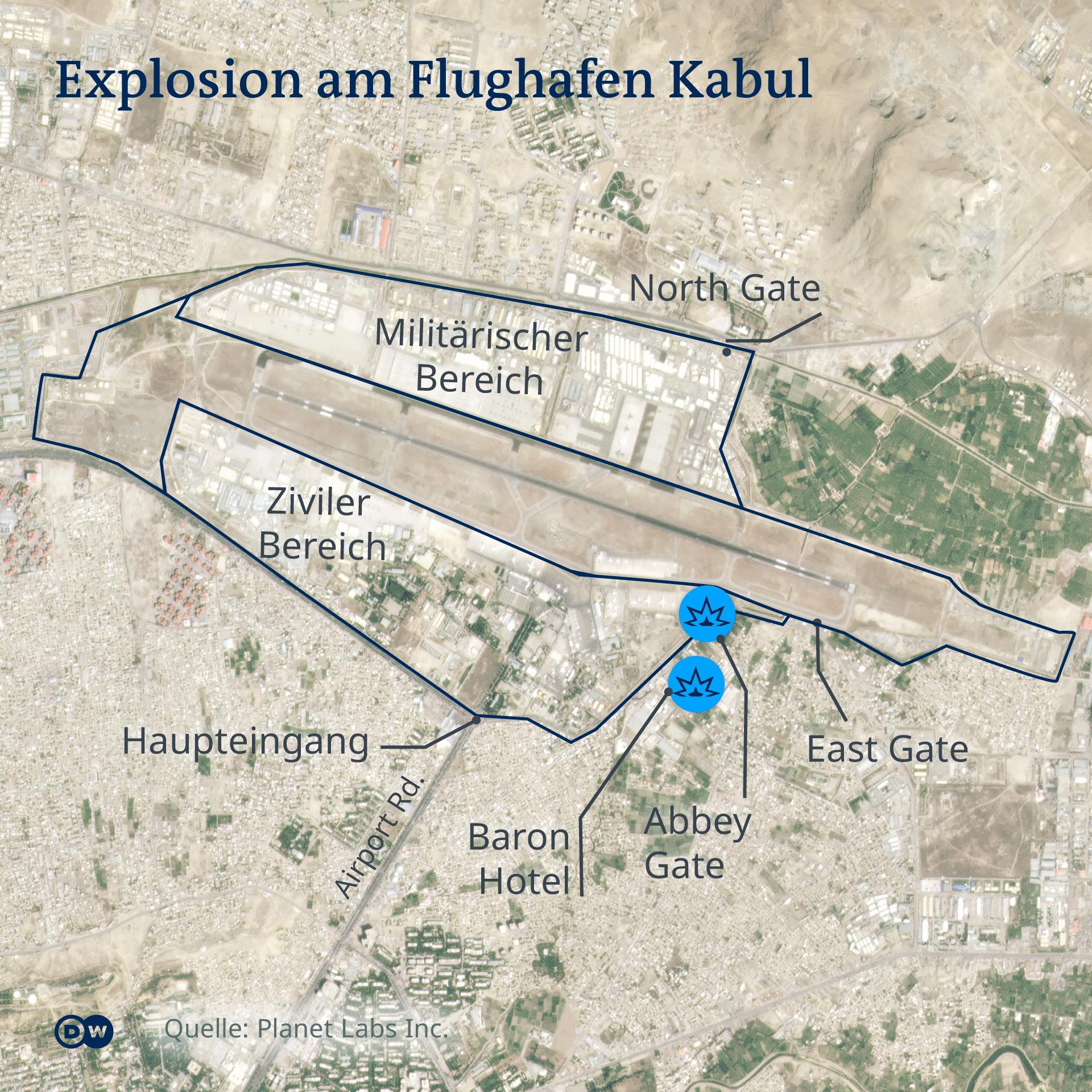 Karte Kabul Airport_Map Blast EN Abbey Gate Baron Hotel DE