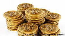 Golden crypto currency coin isolated on white background. 3D illustration.