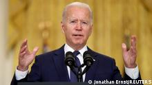 U.S. President Joe Biden delivers remarks about Afghanistan, from the East Room of the White House in Washington, U.S. August 26, 2021. REUTERS/Jonathan Ernst