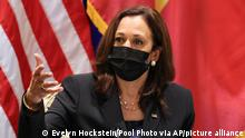 U.S. Vice President Kamala Harris meets with civil society change makers who work on LGBT, transgender, and disability rights and climate change, at the U.S. Chief of Mission's residence in Hanoi, Vietnam, Thursday, Aug. 26, 2021. (Evelyn Hockstein/Pool Photo via AP)