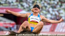 Ukraine's Yuliia Pavlenko competes in women's long jump T11 during the Tokyo 2020 Paralympic Games, Friday, Aug. 27, 2021, in Tokyo. (Joel Marklund for OIS via AP)