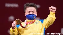 TOKYO, JAPAN - AUGUST 27: Gold medalist Mariana Shevchuk of Team Ukraine after the women's -55 kg final on day 3 of the Tokyo 2020 Paralympic Games at on August 27, 2021 in Tokyo, Japan. (Photo by Christopher Jue/Getty Images for International Paralympic Committee)