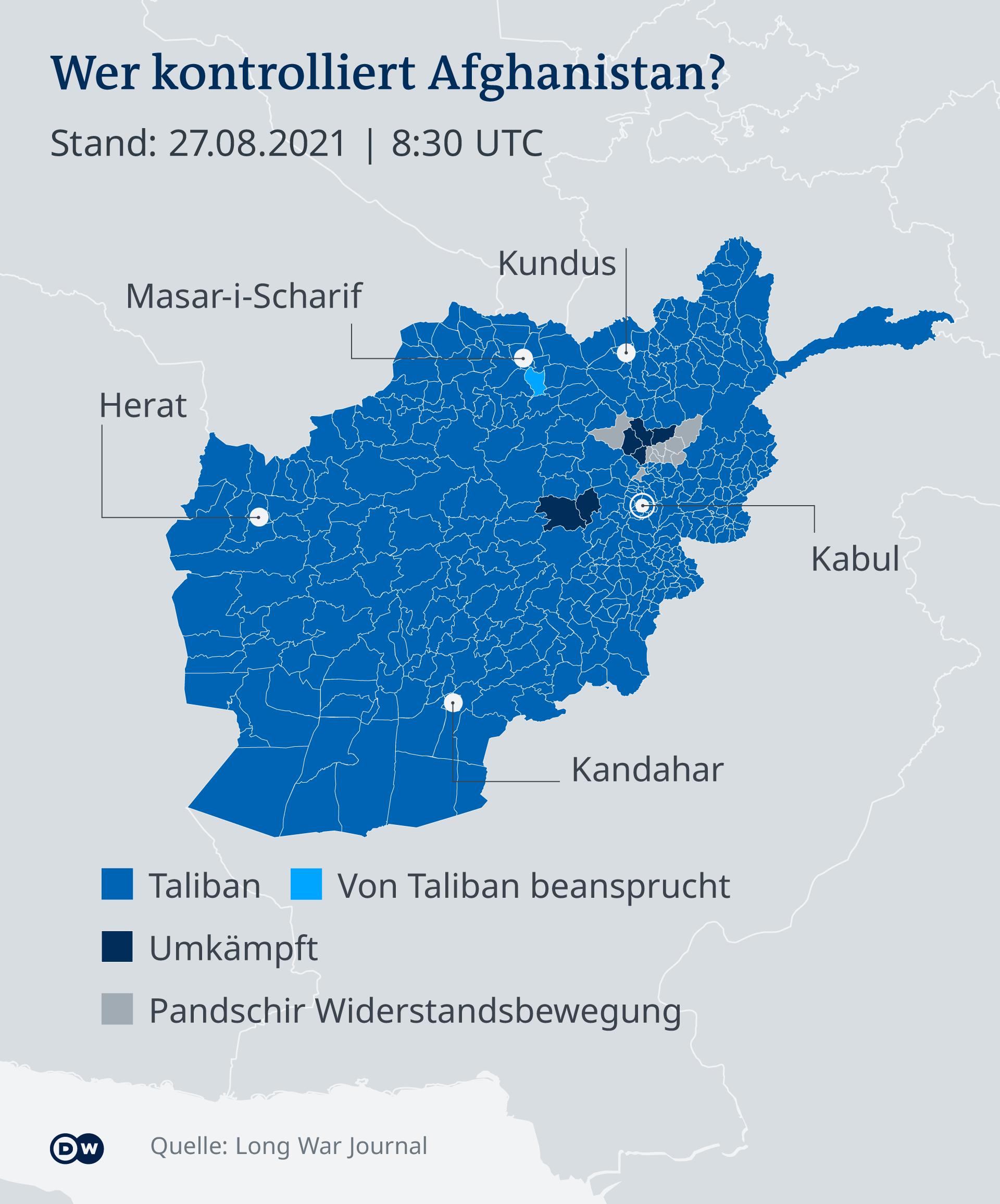 Infografik Wer kontrolliert Afghanistan 27.8.2021 DE