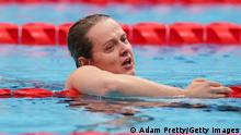 TOKYO, JAPAN - AUGUST 27: Anna Stetsenko of Team Ukraine celebrates victory in the Women's 400m Freestyle S13 Finalon day 3 of the Tokyo 2020 Paralympic Games at Tokyo Aquatics Center on August 27, 2021 in Tokyo, Japan. (Photo by Adam Pretty/Getty Images)