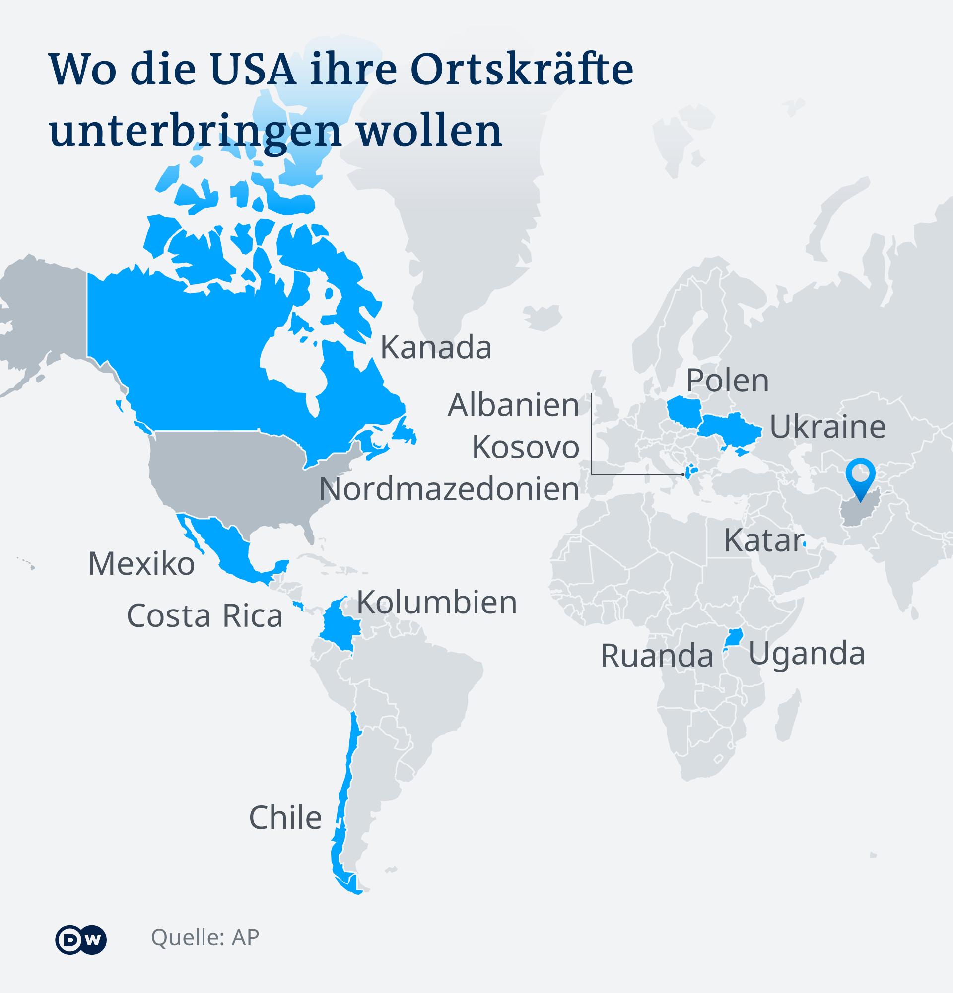 Infografik Wo die USA ihre Ortskräfte unterbringen wollen DE